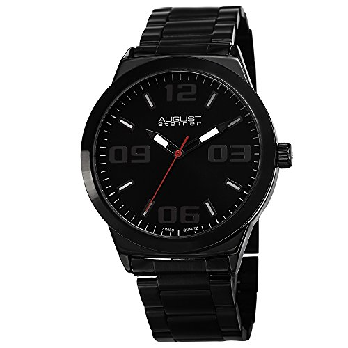 August Steiner Men's AS8134BK Black Swiss Quartz Watch with Black Dial and Black Bracelet