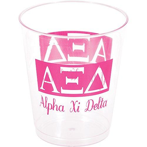 Creative Converting 8 Count Plastic Alpha Xi Delta Printed Tumblers, 10 oz, Clear/Pink