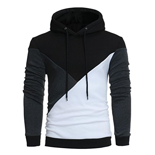 Forthery Men's Long sleeve Patchwork Casual Fleece Hoodie Sweatshirt Jacket (Black, Tag XXXL= US - Vintage Sale Shirts Versace For