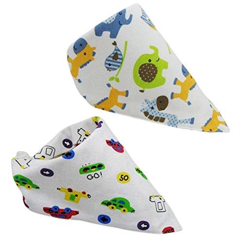 Set of 2 Baby Cute Bandana Drool Bibs Unisex Cotton (Elephant & Car)