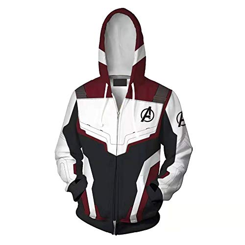 ZTANPS Superhero Hoodie Adult Sweatshirt Jacket Halloween Cosplay Costume (XXL, White) ()