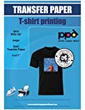 "PPD Inkjet Iron-On Dark T Shirt Transfers Paper 11x17"" Pack of 50 Sheets"