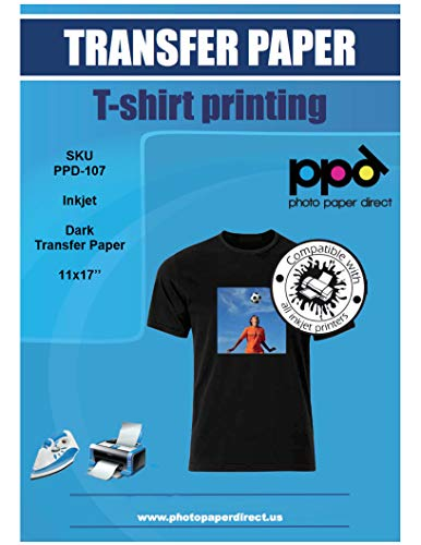 PPD Inkjet Iron-On Dark T Shirt Transfers Paper 11x17