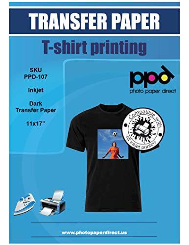 107 Photos - PPD Inkjet Iron-On Dark T Shirt Transfers Paper 11x17