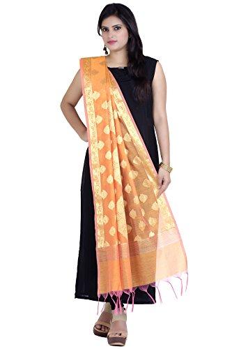 Chandrakala Women's Handwoven Zari Work Banarasi Dupatta Stole Scarf (Orange) by Chandrakala (Image #2)