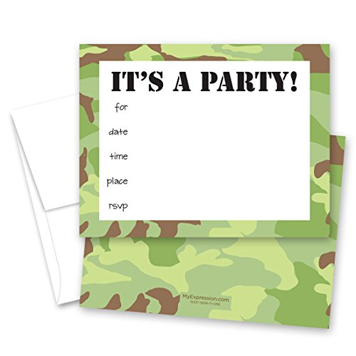 (MyExpression.com 24 Camo Fill-in Kids Birthday Party)