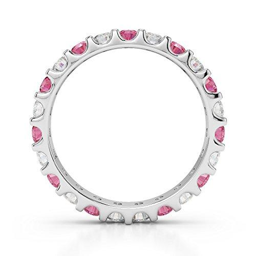 G-H/VS 0,67CT Coupe ronde sertie de diamants Tourmaline Rose et Full Eternity Bague en platine 950Agdr-1105