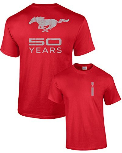 Iconic Muscle Tee - Ford T-Shirt Mustang 50 Years Pony-Red-XL