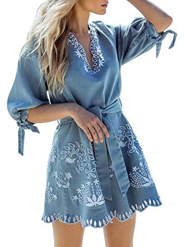 Miessial Women's V Neck Denim Embroidered Mini Dress Casual Tie Waist Beach Short Dress (10, Light Blue)