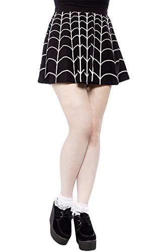 For G and PL Women Costume Pleated Spider Web Casual Flare Mini Skirt Black & White XXL ()