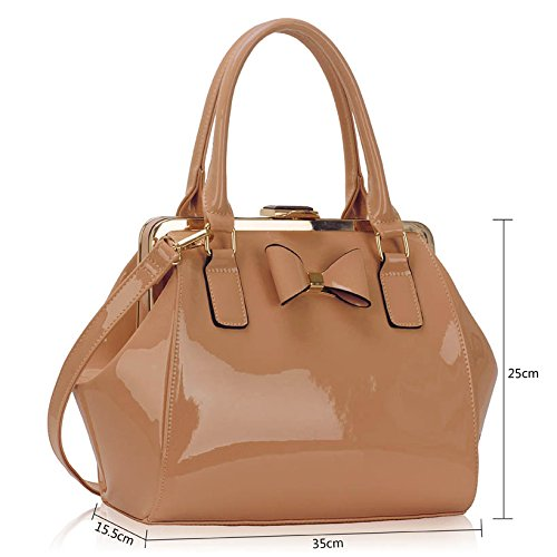 Females Look Ladies New Designer Size Womens Bags Medium Bow For 1 Patent Design Handbags Nude Fashion Leather With 7WUq7cAzB