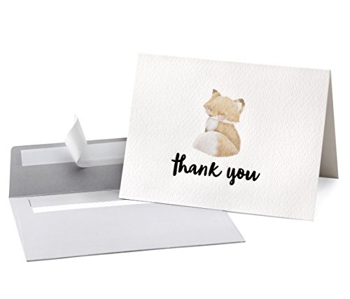Cute Woodland Animal Thank You Cards and Gray Self Seal Envelopes 36 Pack - Opie's Paper Company by Opie's Paper Co.