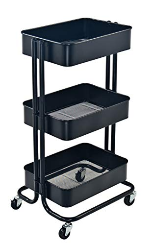 QZDJG 3 Tier Metal Rolling Utility Cart Storage Cart with Wheels Home Kitchen Bedroom Office Storage Trolley Serving Cart Mobile Storage Cart (Black)