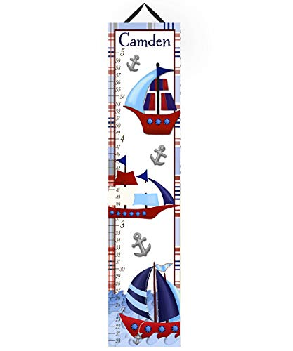- Toad and Lily Canvas GROWTH CHART Red Blue Sail Boat Nautical Boys Bedroom Baby Nursery Bedroom Wall Art GC0094