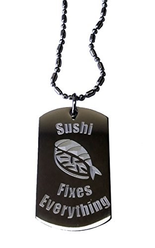 [Sushi Fixes Everything - Luggage Metal Chain Necklace Military Dog Tag] (Nigiri Dog Costume)