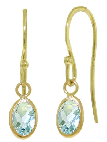 14k Yellow Gold Fish Hook Earrings with Natural Aquamarines (Fish Yellow Earring)