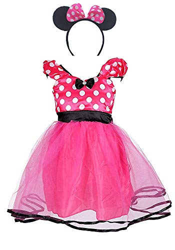 AQTOPS Girls Birthday Party Dress Costumes with Headband Hot Pink