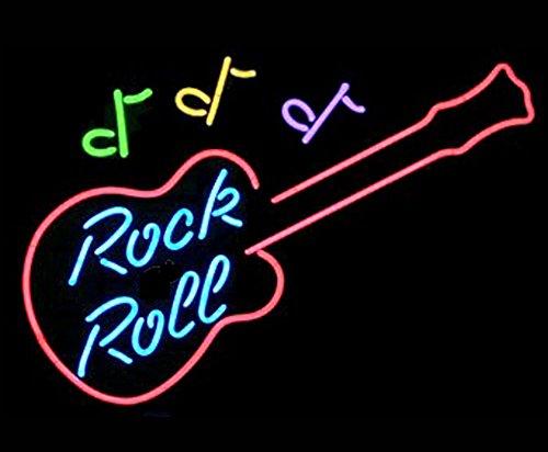 Cozyle Glass Bright Neon Light Rock & Roll Guitar Neon Sign 17