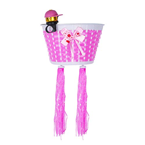BESPORTBLE 4PCS Children Bike Handlebar Basket Bell Set, Bicycle Grips Tassels Scooter Ribbons Streamers Bike Accessories for Gift