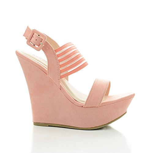Pamela73 Peach Slingback Mesh Strap Platform Wedge Dress Sandals-7