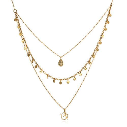 Satya Jewelry Citrine Gold Plate Om Triple Chain Necklace, 20'' by Satya Jewelry