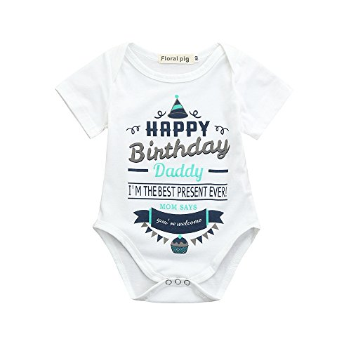 Yamally Newborn Baby Girls Boy Happy Birthday Father Funny Bodysuits Rompers Outfits Sale (3-6 Months, White) ()