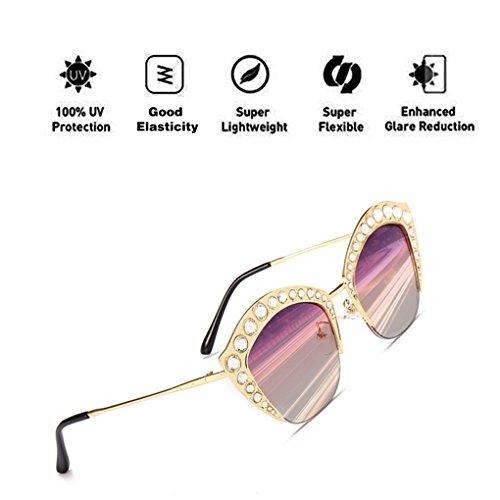Moda para Diamond P¨²rpura con PC UV400 Decoration Mujeres ATNKE hombres Lip Gafas la armadura Shape sol Gafas protección gran Lente de reflectante tamaño de de de HD n8HUF8qWxw