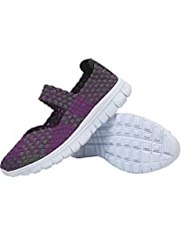 L-RUN Women Water Shoes Woven Light Weight Slip On Sports Shoes Casual