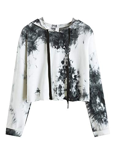 SweatyRocks Women's Tie Dye Long Sleeve Workout Crop Top Sweatshirt Hoodies