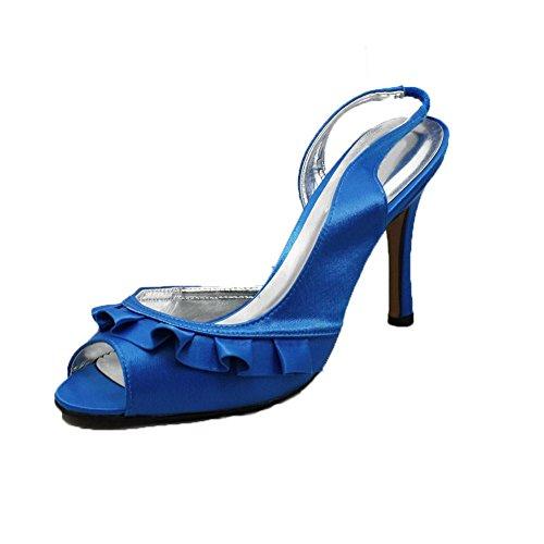 Señoras satén de tacón alto zapatos de dama de honor / fiesta con frente de volantes Blue