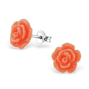 Si seleccione-925 pendientes de plata de ley-naranja brillante sementales-10 millimeter-libre de la caja de regalo