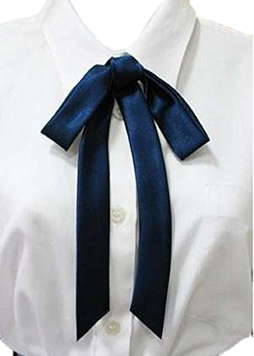YABINA Ladies Long Pre Bow Tie Solid Color Bowtie for Women (Bule) (X-long Bow Tie Band)