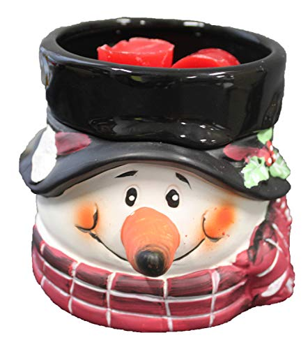 Snowman Electric 2-in-1 Candle Warmer Wax Melter - 2 Piece Ceramic Burner Melts Scented Candles Oil Fragrances Tart Cubes - Odor Eliminating Plug in Flameless Air Freshener - Holiday Christmas Decor