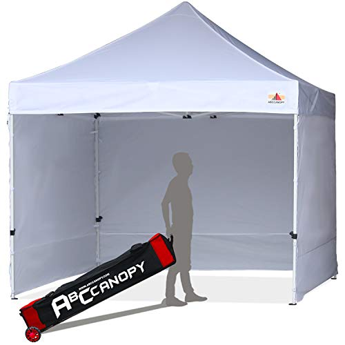 ABCCANOPY Upgrade Pop up Canopy Tent Commercial Instant Shelter with Wheeled Roller Bag (White Canopy with Walls)