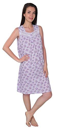 Beverly Rock Women's Floral Print Sleeveless Nightgown A113 Purple XXL