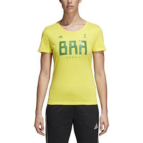 adidas World Cup Soccer Brazil Women's Tee, Medium, Yellow Adidas Brazil