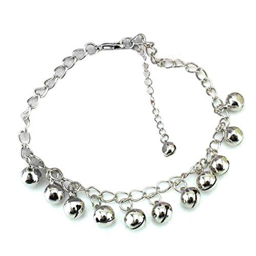 Anklet Silver Bells (OldSch001 Ankle Bracelets for Women,Bells Pendant Anklet Bracelet Beach Foot Chain (Silver))