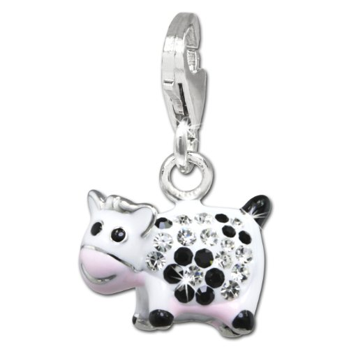SilberDream Glitter Charm funny cow with white and black Czech crystals, white and pink enameled 925 Sterling Silver Charms Pendant for Charms Bracelet, Necklace or Earring - Cow White Charm