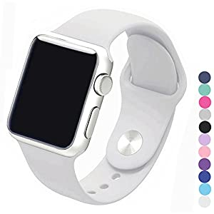 Piwjo Silicone Apple Watch Band and Replacement Iwatch Bands Series 1,Series 2,Series 3 (42mm S/M, White)