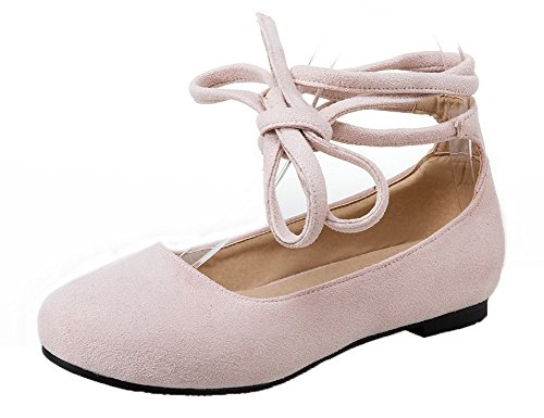 AmoonyFashion Womens Pull-On Round Closed Toe No-Heel Frosted Solid Pumps-Shoes Beige VIV9jPn