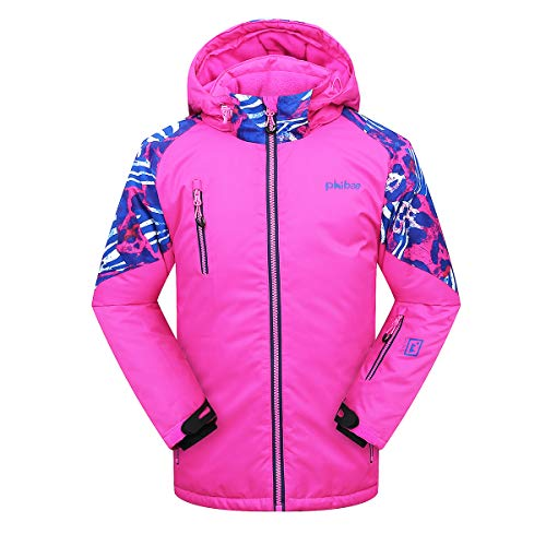 Junior Girls Ski Jacket - PHIBEE Girls' Sportswear Waterproof Windproof Snowboard Ski Jacket Pink 8