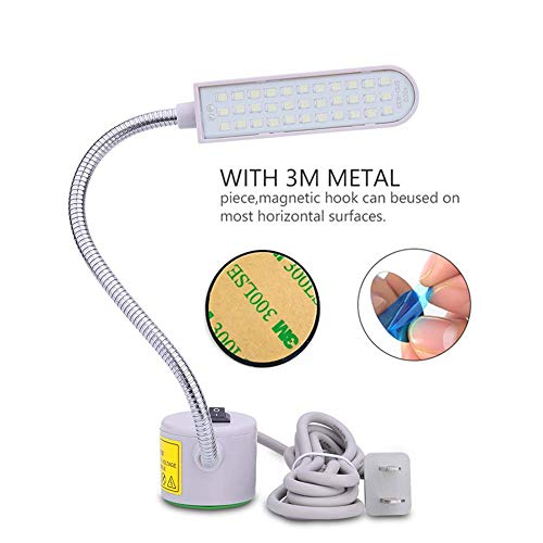 Sewing Machine Light, Tohoer Magnetic Multi-Task LED Light with 6 Watt 33 Daylight LEDs-Multifunctional Flexible Gooseneck Arm Work Lamp for Workbench Lathe Drill Press Gray and car Repair (White)