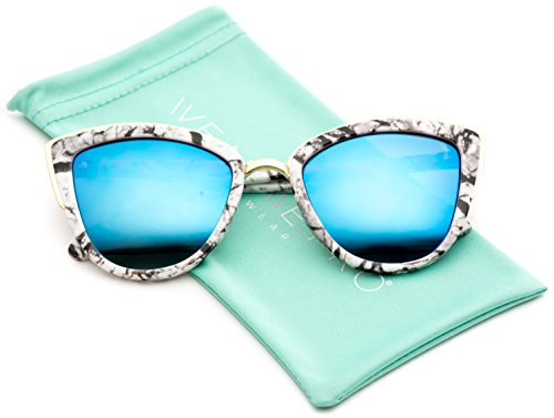 Womens Cat Eye Mirrored Revo Reflective Lenses Oversized Cateyes Sunglasses (White Marble / Mirror Blue, - Chart Lens Size
