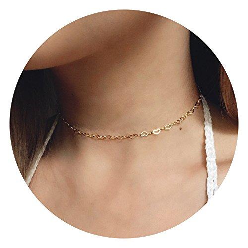 Fettero Women Dainty Gold Necklace Chain Handmade 14K Gold Fill Boho Hollow-out Heart Chocker