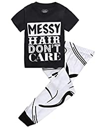 "Kids Girls ""MESSY HAIR DON'T CARE""T-shirt and Printing Pants Outfit"