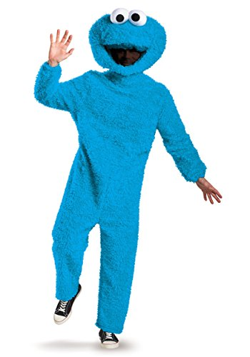 Disguise Men's Full Plush Cookie Monster Prestige Adult Costume, Blue, -