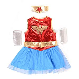 - 41Y3YyQbeiL - Flamingo Bonut Supergirl Costume Deluxe Superhero Girls Costume Wonder Woman Supergirl Roleplay DC Superheros Fancy Dress Party Halloween Costumes for Kids (s-3)