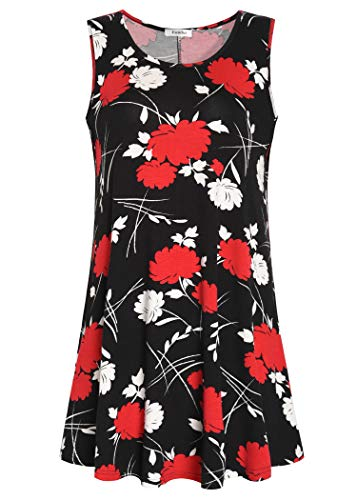 (Esenchel Women's Flowy Sleeveless Tunic Top for Leggings 4X Classic Red Floral)