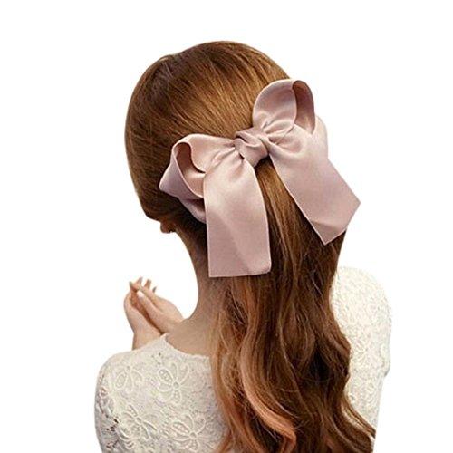 Ikevan Women Girls Cute Large Big Satin Hair Hair Clip Boutique Ribbon Bow (Pink)