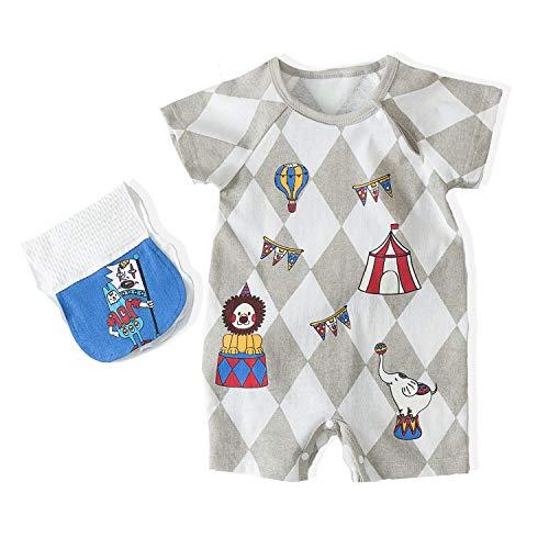 Newborn Baby Rompers Toddler Boy Infant Jumpsuit 0-3 Months Baby Clothes Bouncier Cotton Summer Babysuit (73(6-9M), Grey) ()